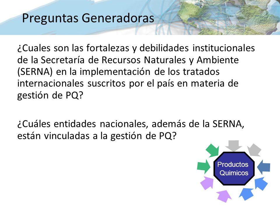 ¿Cuales son las fortalezas y debilidades institucionales de la Secretaría de Recursos Naturales y Ambiente (SERNA) en la implementación de los tratados internacionales suscritos por el país en materia de gestión de PQ.