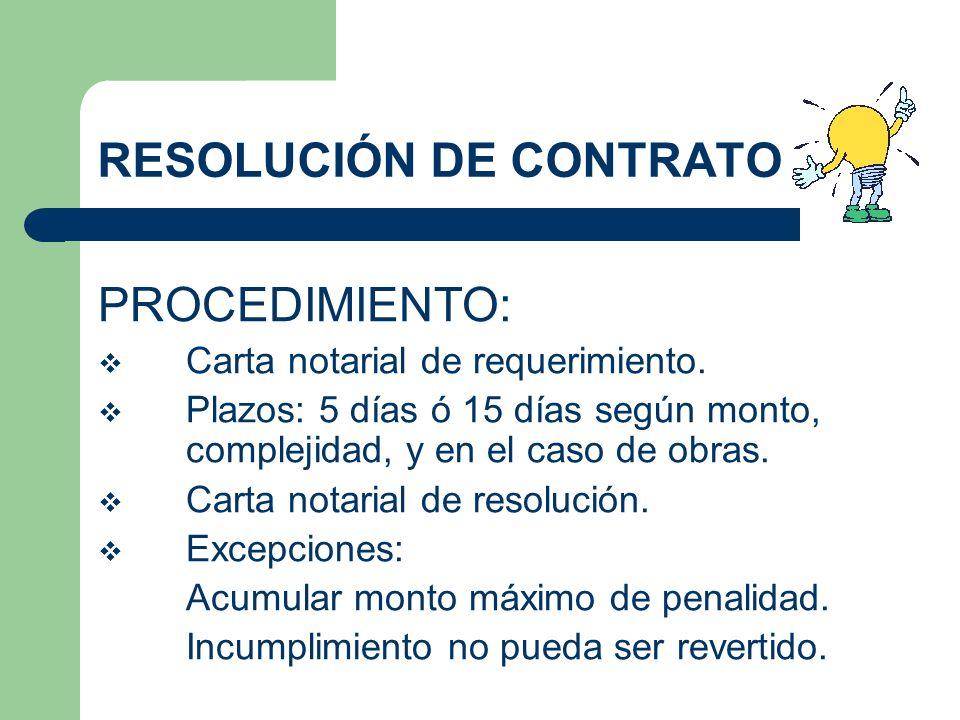 RESOLUCIÓN DE CONTRATO PROCEDIMIENTO: Carta notarial de requerimiento. Plazos: 5 días ó 15 días según monto, complejidad, y en el caso de obras. Carta