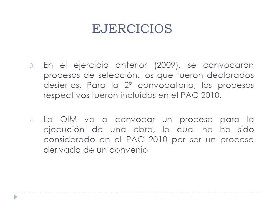 3. En el ejercicio anterior (2009), se convocaron procesos de selección, los que fueron declarados desiertos. Para la 2° convocatoria, los procesos re