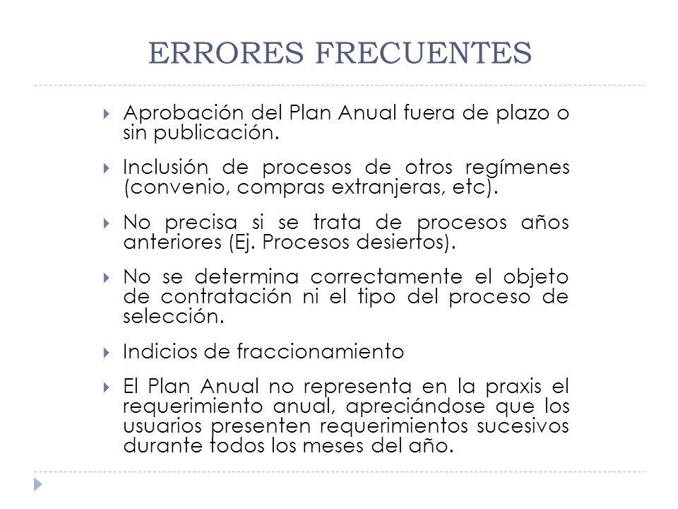 ERRORES FRECUENTES Aprobación del Plan Anual fuera de plazo o sin publicación. Inclusión de procesos de otros regímenes (convenio, compras extranjeras