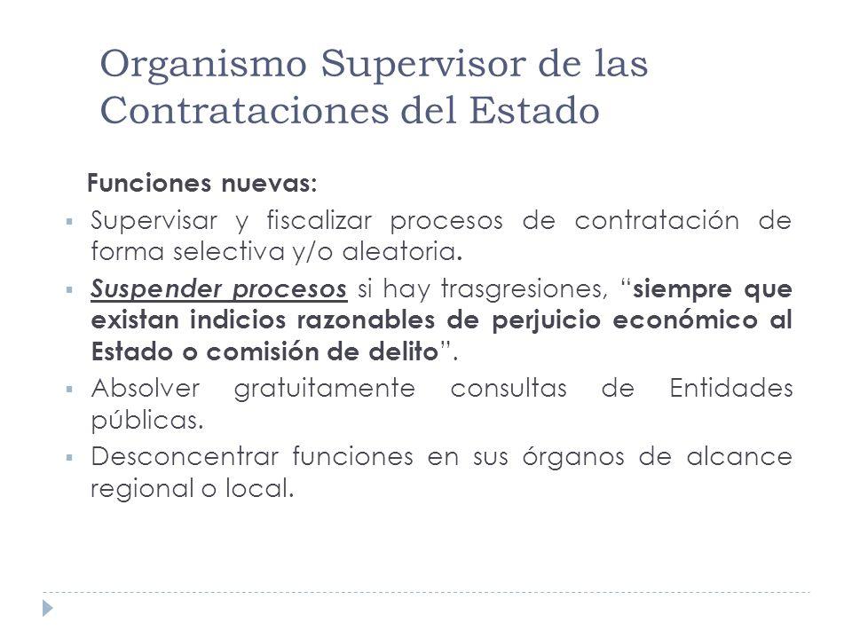 Organismo Supervisor de las Contrataciones del Estado Funciones nuevas: Supervisar y fiscalizar procesos de contratación de forma selectiva y/o aleato