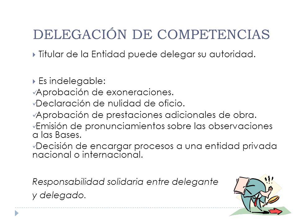 DELEGACIÓN DE COMPETENCIAS Titular de la Entidad puede delegar su autoridad. Es indelegable: Aprobación de exoneraciones. Declaración de nulidad de of