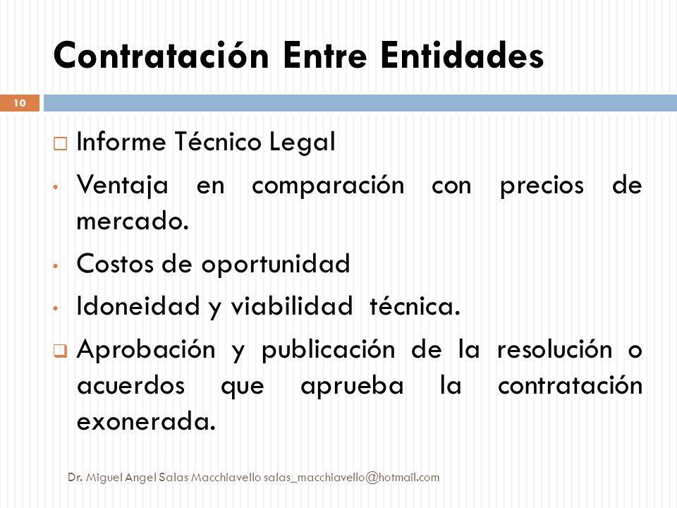 Contratación Entre Entidades Informe Técnico Legal Ventaja en comparación con precios de mercado. Costos de oportunidad Idoneidad y viabilidad técnica
