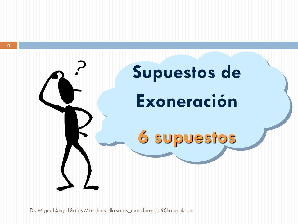 Supuestos de Exoneración 6 supuestos Supuestos de Exoneración 6 supuestos Dr. Miguel Angel Salas Macchiavello salas_macchiavello@hotmail.com 4