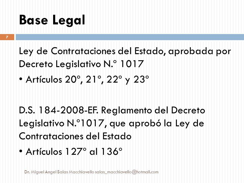 Base Legal Ley de Contrataciones del Estado, aprobada por Decreto Legislativo N.º 1017 Artículos 20º, 21º, 22º y 23º D.S. 184-2008-EF. Reglamento del