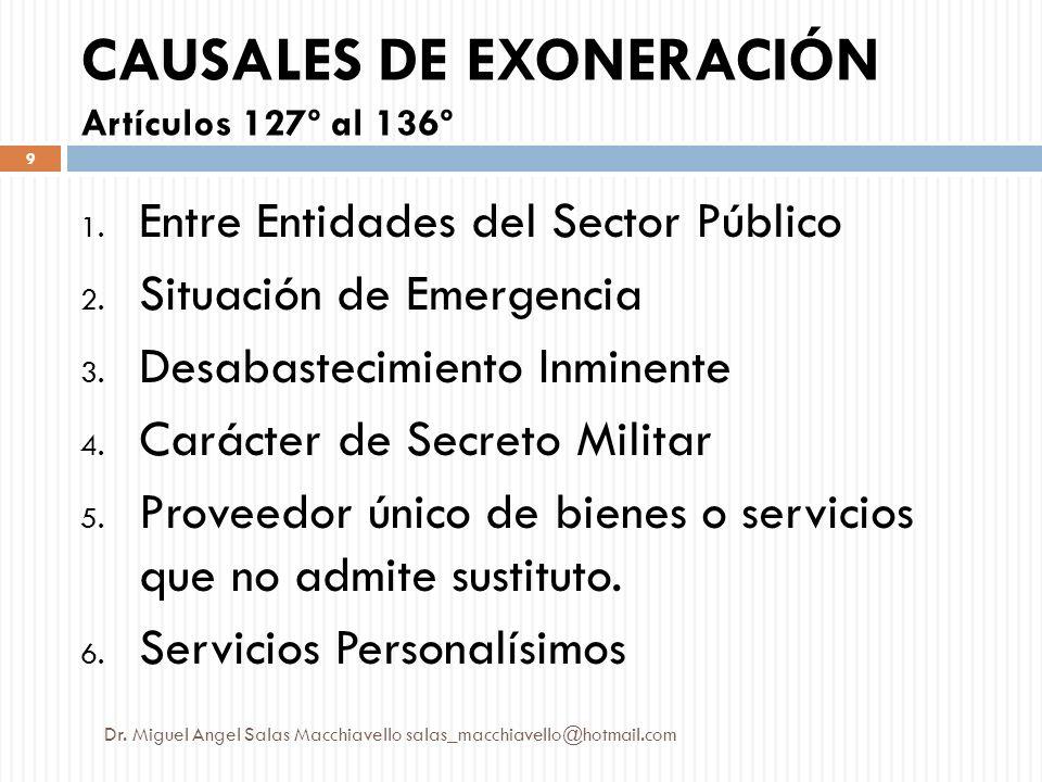 CAUSALES DE EXONERACIÓN Artículos 127º al 136º 1. Entre Entidades del Sector Público 2. Situación de Emergencia 3. Desabastecimiento Inminente 4. Cará