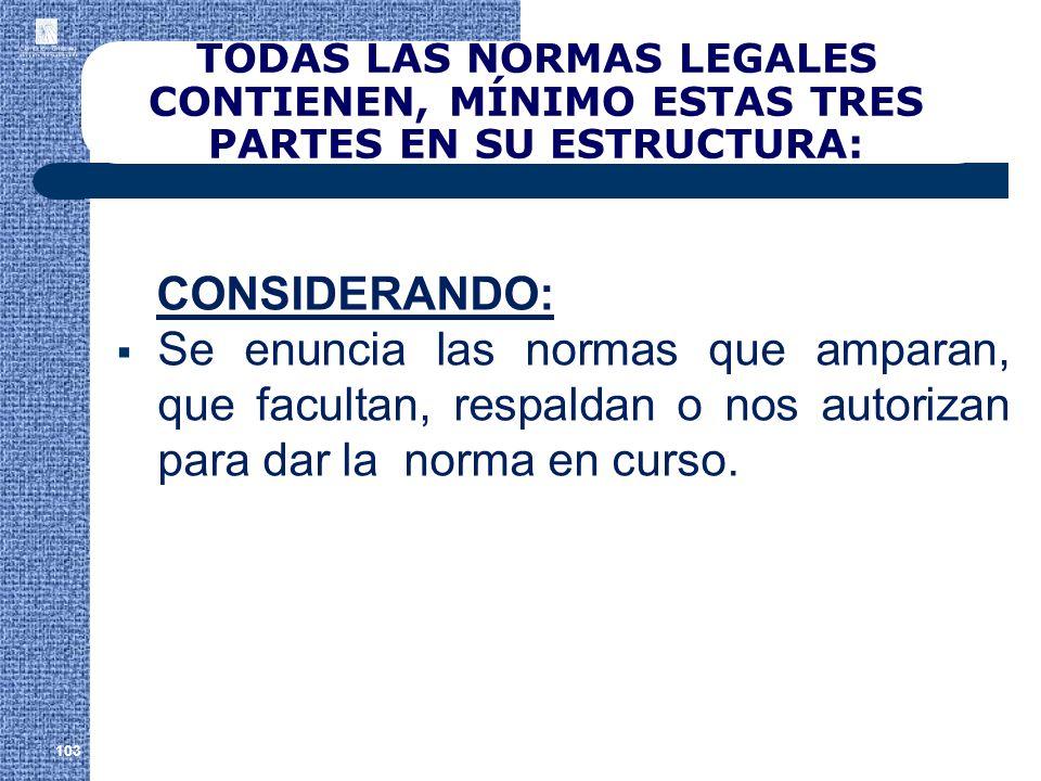 TODAS LAS NORMAS LEGALES CONTIENEN, MÍNIMO ESTAS TRES PARTES EN SU ESTRUCTURA: CONSIDERANDO: Se enuncia las normas que amparan, que facultan, respalda