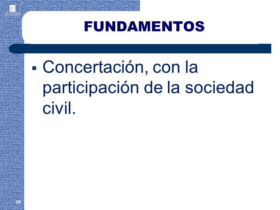 FUNDAMENTOS Concertación, con la participación de la sociedad civil. 28