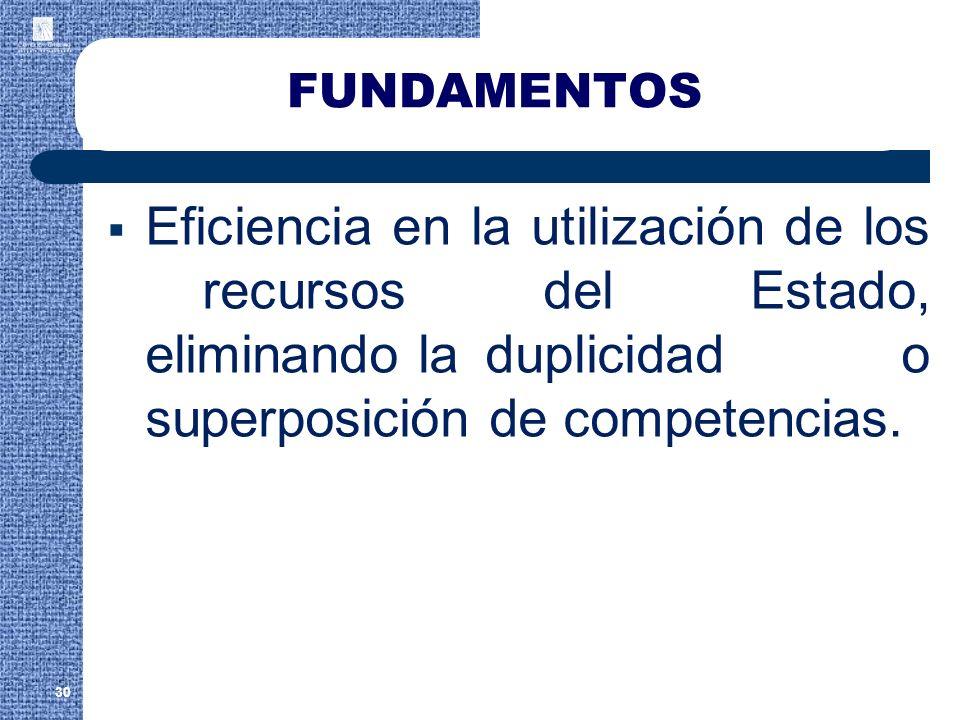 FUNDAMENTOS Eficiencia en la utilización de los recursos del Estado, eliminando la duplicidad o superposición de competencias. 30