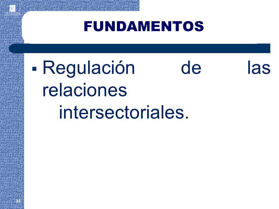 FUNDAMENTOS Regulación de las relaciones intersectoriales. 33