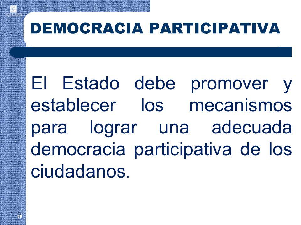 38 DEMOCRACIA PARTICIPATIVA El Estado debe promover y establecer los mecanismos para lograr una adecuada democracia participativa de los ciudadanos.