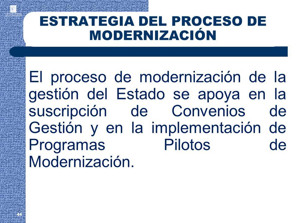 44 ESTRATEGIA DEL PROCESO DE MODERNIZACIÓN El proceso de modernización de la gestión del Estado se apoya en la suscripción de Convenios de Gestión y e