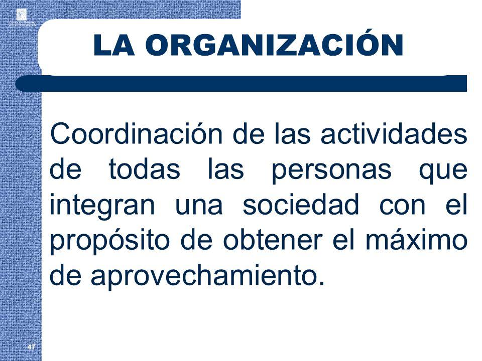 LA ORGANIZACIÓN Coordinación de las actividades de todas las personas que integran una sociedad con el propósito de obtener el máximo de aprovechamien