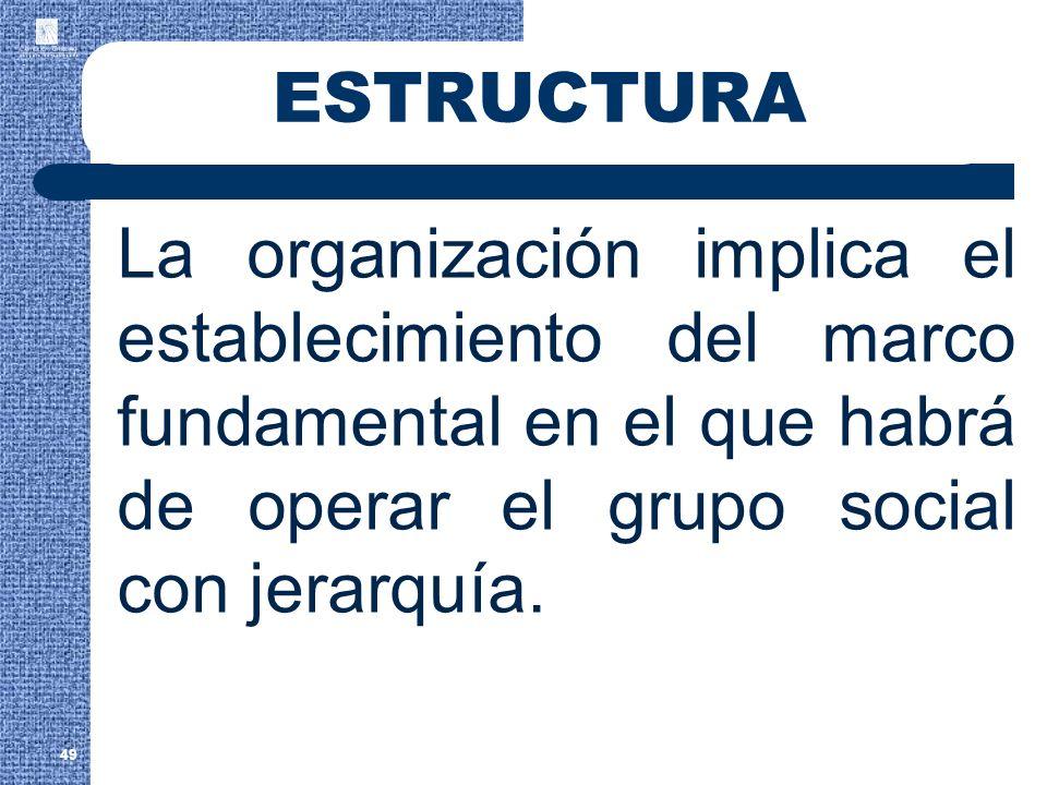 ESTRUCTURA La organización implica el establecimiento del marco fundamental en el que habrá de operar el grupo social con jerarquía. 49