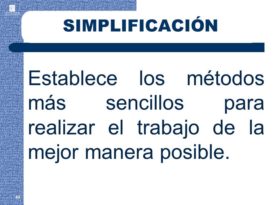 SIMPLIFICACIÓN Establece los métodos más sencillos para realizar el trabajo de la mejor manera posible. 53