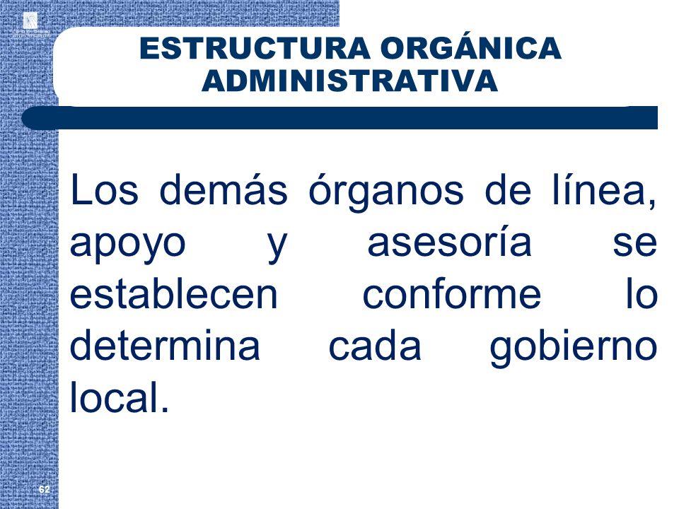 62 ESTRUCTURA ORGÁNICA ADMINISTRATIVA Los demás órganos de línea, apoyo y asesoría se establecen conforme lo determina cada gobierno local.
