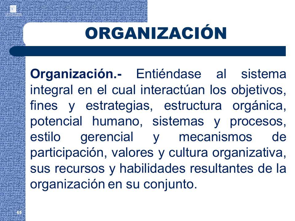65 ORGANIZACIÓN Organización.- Entiéndase al sistema integral en el cual interactúan los objetivos, fines y estrategias, estructura orgánica, potencia