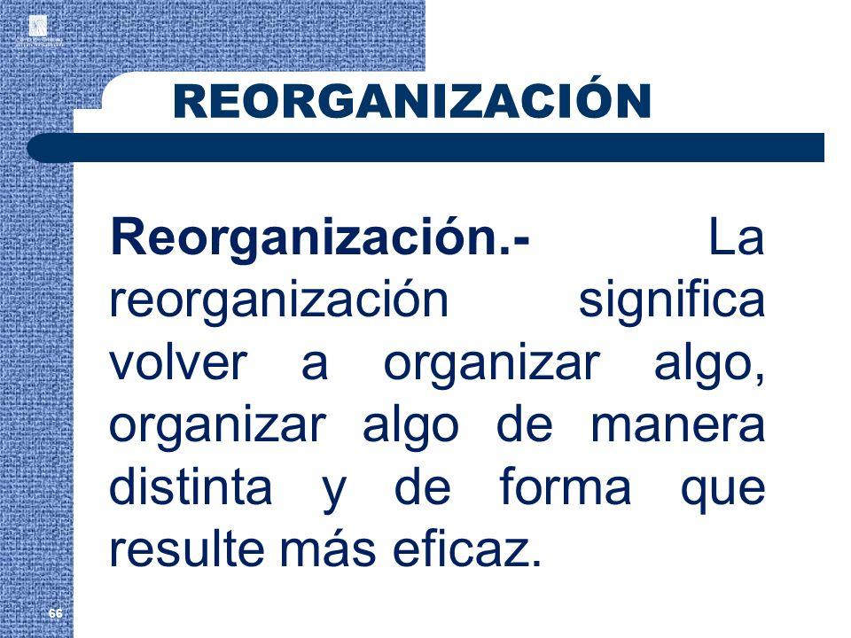 66 Reorganización.- La reorganización significa volver a organizar algo, organizar algo de manera distinta y de forma que resulte más eficaz. REORGANI