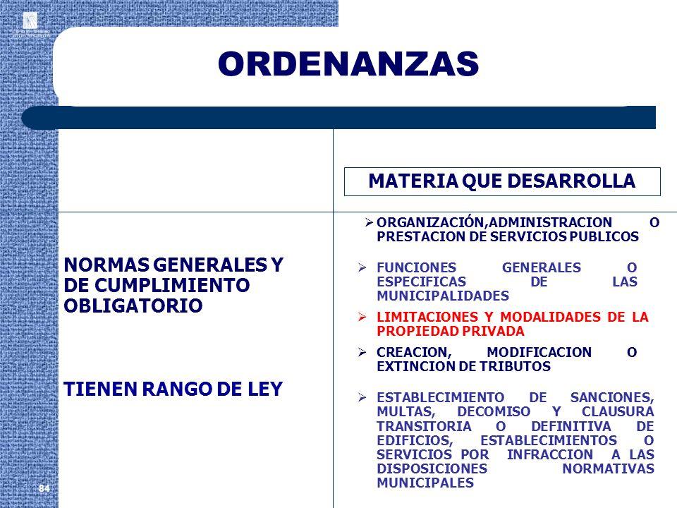 ORDENANZAS 84 MATERIA QUE DESARROLLA ORGANIZACIÓN,ADMINISTRACION O PRESTACION DE SERVICIOS PUBLICOS NORMAS GENERALES Y DE CUMPLIMIENTO OBLIGATORIO TIE