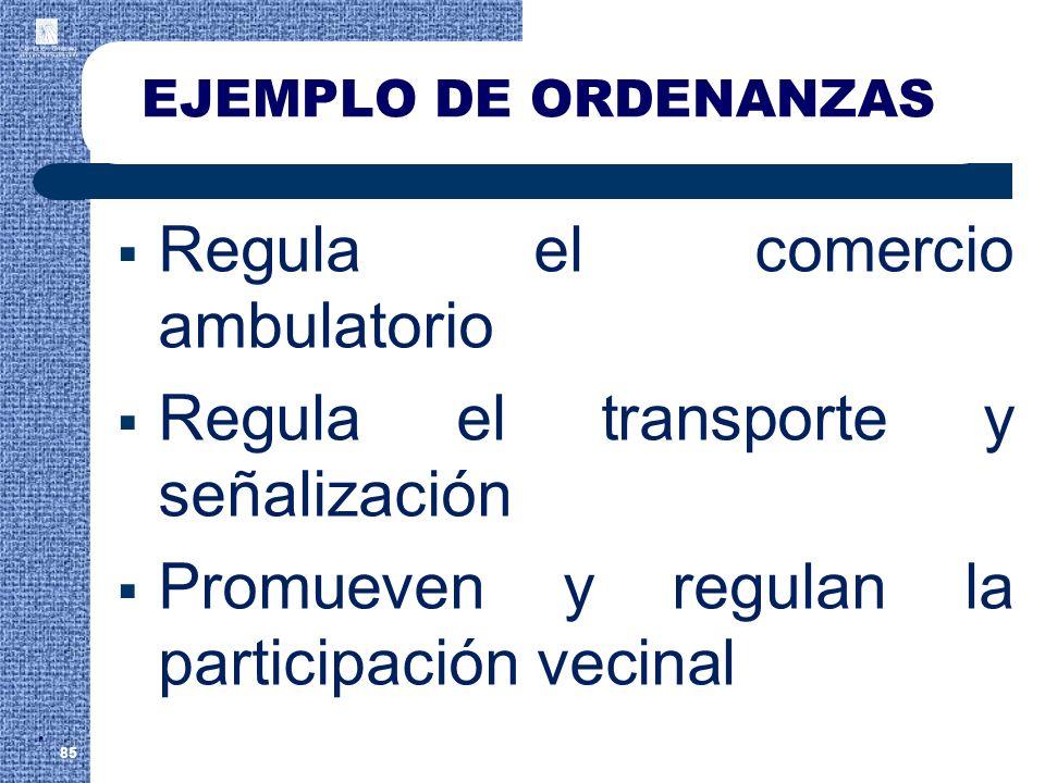 EJEMPLO DE ORDENANZAS Regula el comercio ambulatorio Regula el transporte y señalización Promueven y regulan la participación vecinal 85.