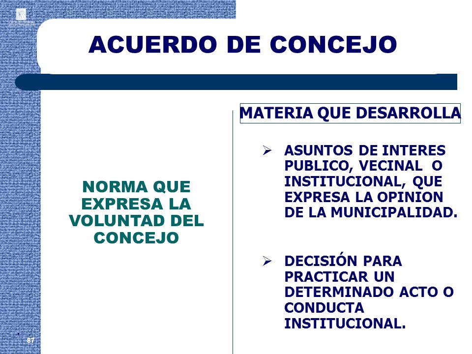 ACUERDO DE CONCEJO 87 MATERIA QUE DESARROLLA ASUNTOS DE INTERES PUBLICO, VECINAL O INSTITUCIONAL, QUE EXPRESA LA OPINION DE LA MUNICIPALIDAD. DECISIÓN