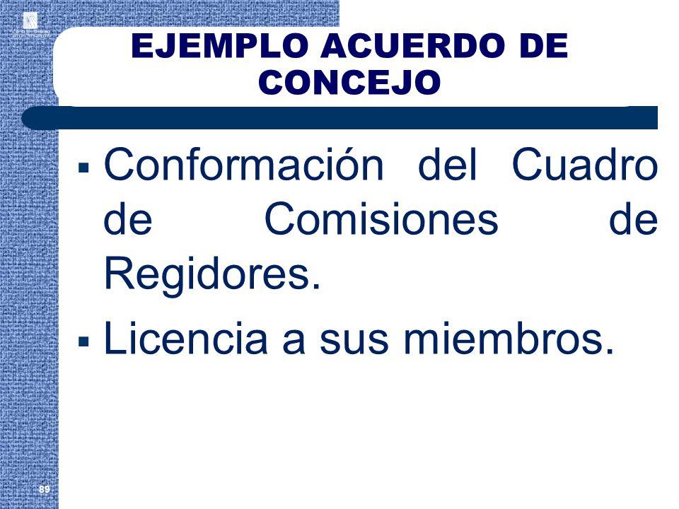 EJEMPLO ACUERDO DE CONCEJO Conformación del Cuadro de Comisiones de Regidores. Licencia a sus miembros. 89