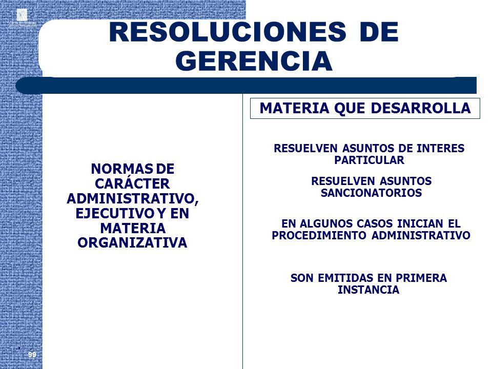 RESOLUCIONES DE GERENCIA 99 MATERIA QUE DESARROLLA RESUELVEN ASUNTOS DE INTERES PARTICULAR NORMAS DE CARÁCTER ADMINISTRATIVO, EJECUTIVO Y EN MATERIA O