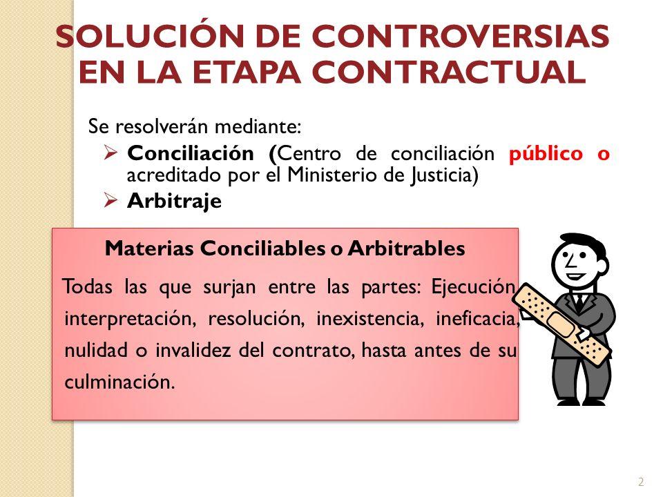 Se resolverán mediante: Conciliación (Centro de conciliación público o acreditado por el Ministerio de Justicia) Arbitraje SOLUCIÓN DE CONTROVERSIAS E