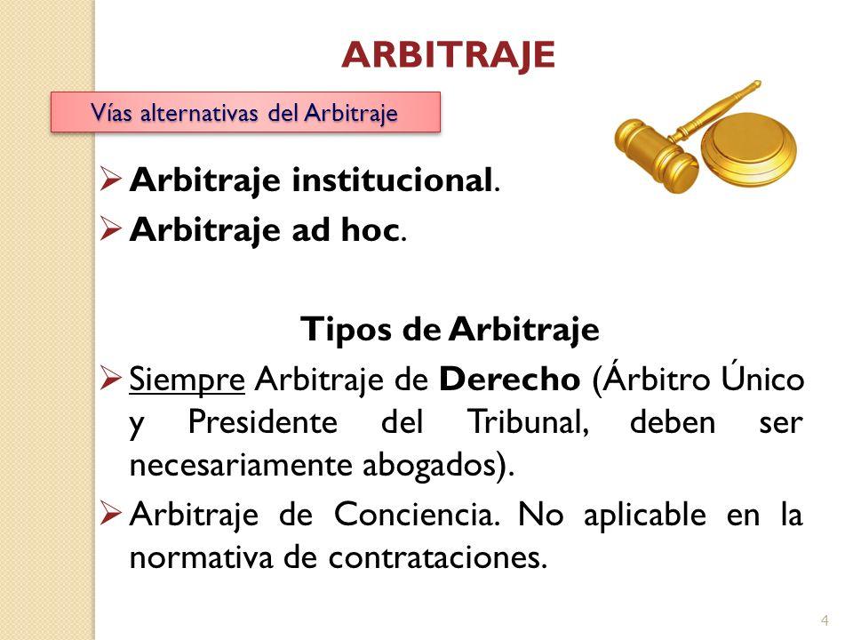 Vías alternativas del Arbitraje Arbitraje institucional. Arbitraje ad hoc. Tipos de Arbitraje Siempre Arbitraje de Derecho (Árbitro Único y Presidente