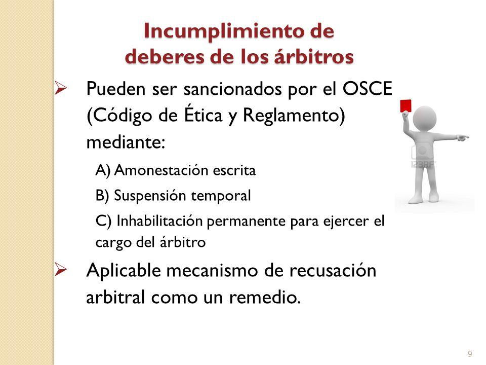Incumplimiento de deberes de los árbitros Pueden ser sancionados por el OSCE (Código de Ética y Reglamento) mediante: A) Amonestación escrita B) Suspe