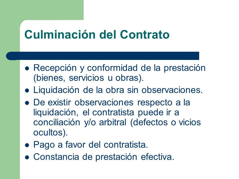 Culminación del Contrato Recepción y conformidad de la prestación (bienes, servicios u obras). Liquidación de la obra sin observaciones. De existir ob