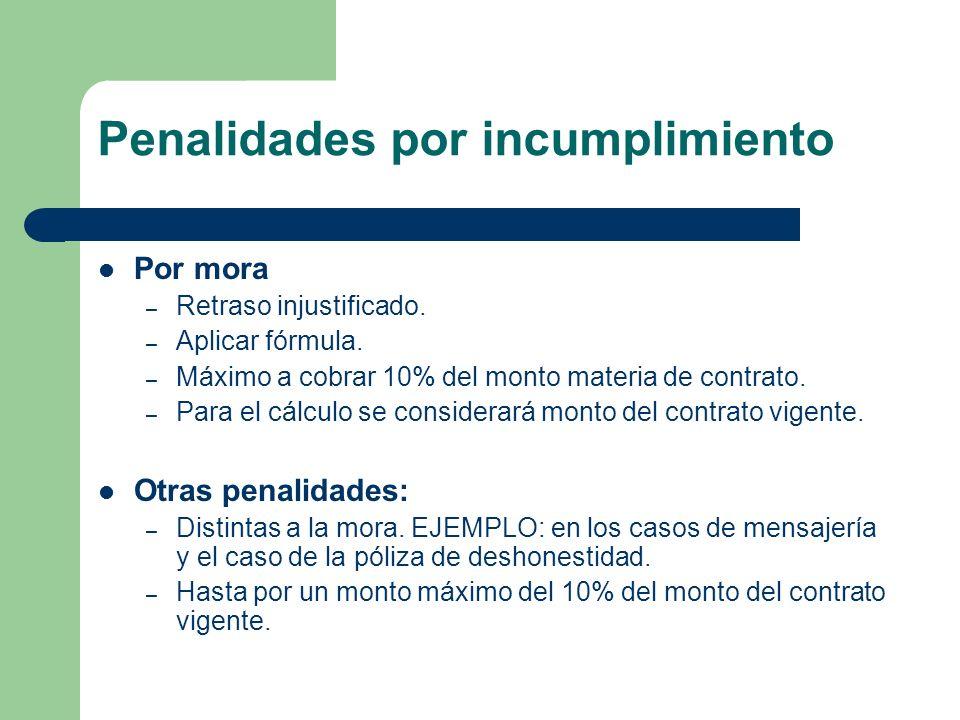 Penalidades por incumplimiento Por mora – Retraso injustificado. – Aplicar fórmula. – Máximo a cobrar 10% del monto materia de contrato. – Para el cál