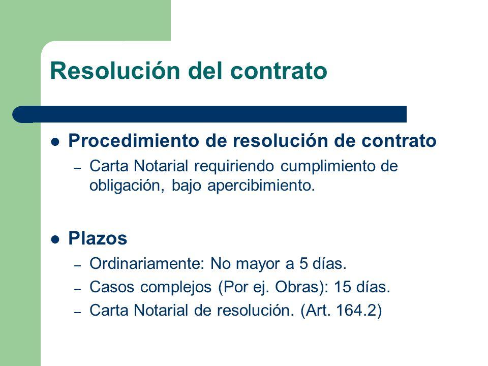Resolución del contrato Procedimiento de resolución de contrato – Carta Notarial requiriendo cumplimiento de obligación, bajo apercibimiento. Plazos –