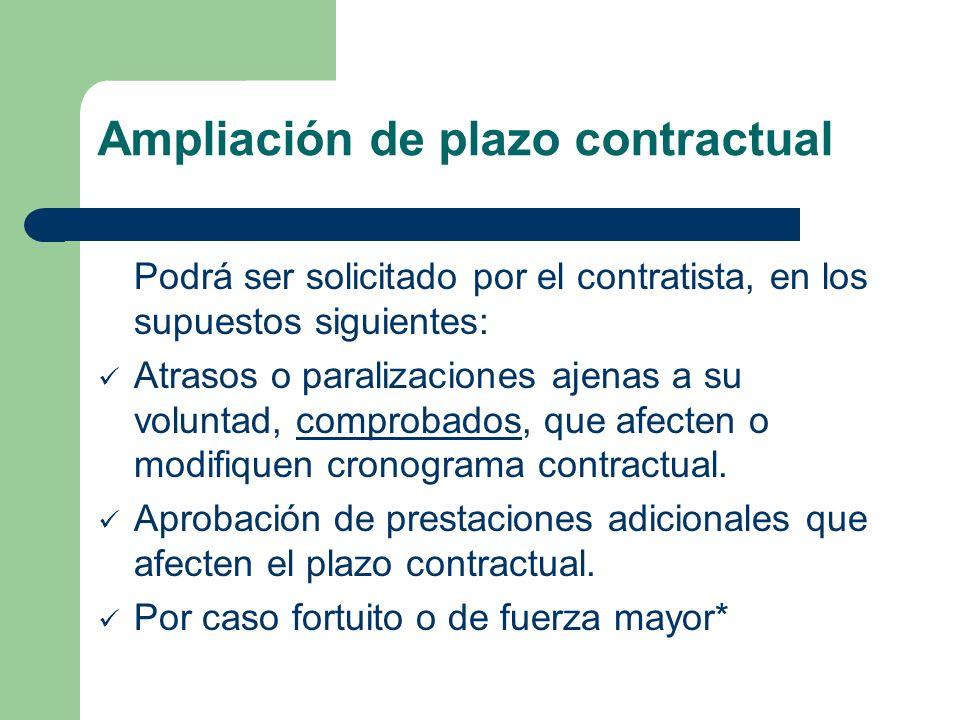 Ampliación de plazo contractual Podrá ser solicitado por el contratista, en los supuestos siguientes: Atrasos o paralizaciones ajenas a su voluntad, comprobados, que afecten o modifiquen cronograma contractual.