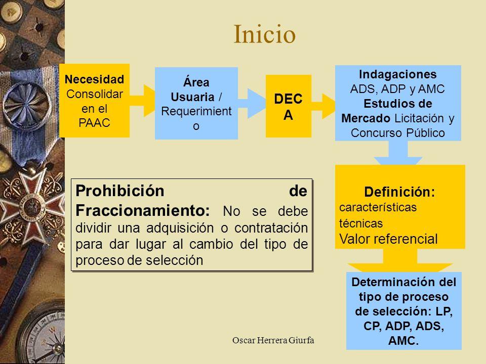 Oscar Herrera Giurfa Inicio Necesidad Consolidar en el PAAC Área Usuaria / Requerimient o DEC A Indagaciones ADS, ADP y AMC Estudios de Mercado Licita