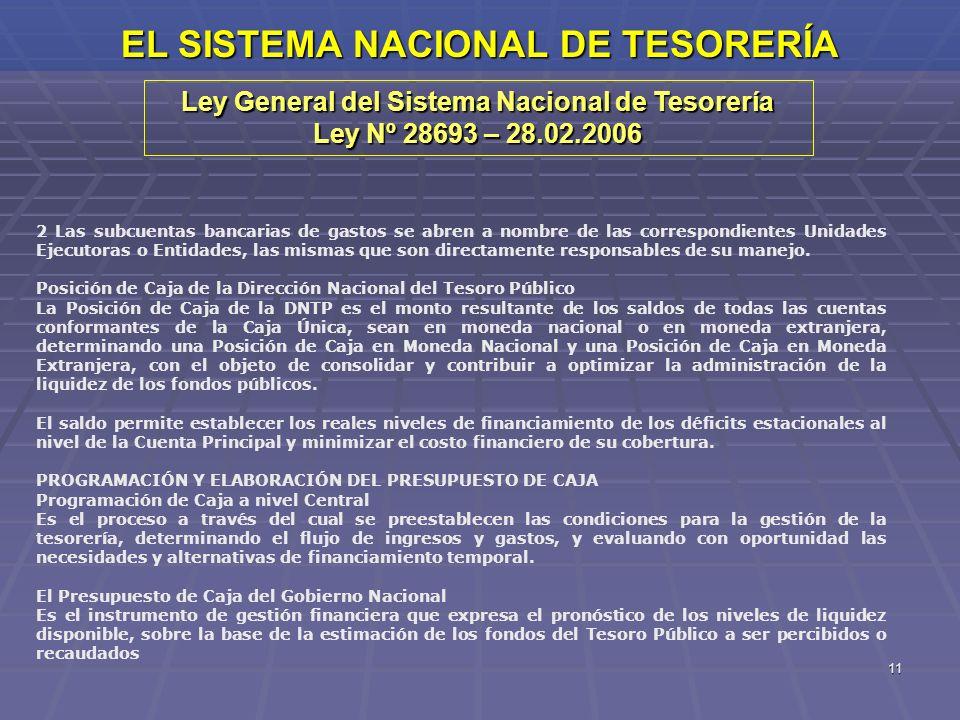 11 EL SISTEMA NACIONAL DE TESORERÍA Ley General del Sistema Nacional de Tesorería Ley Nº 28693 – 28.02.2006 2 Las subcuentas bancarias de gastos se ab