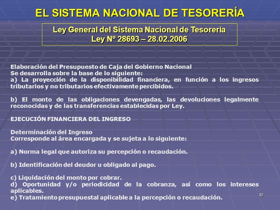 12 EL SISTEMA NACIONAL DE TESORERÍA Ley General del Sistema Nacional de Tesorería Ley Nº 28693 – 28.02.2006 Elaboración del Presupuesto de Caja del Go