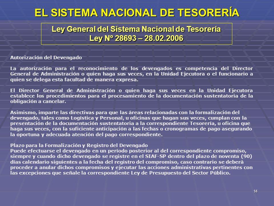 14 EL SISTEMA NACIONAL DE TESORERÍA Ley General del Sistema Nacional de Tesorería Ley Nº 28693 – 28.02.2006 Autorización del Devengado La autorización