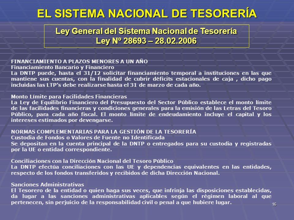 16 EL SISTEMA NACIONAL DE TESORERÍA Ley General del Sistema Nacional de Tesorería Ley Nº 28693 – 28.02.2006 FINANCIAMIENTO A PLAZOS MENORES A UN AÑO F