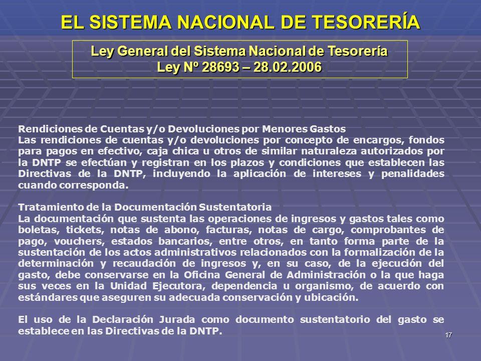 17 EL SISTEMA NACIONAL DE TESORERÍA Ley General del Sistema Nacional de Tesorería Ley Nº 28693 – 28.02.2006 Rendiciones de Cuentas y/o Devoluciones po