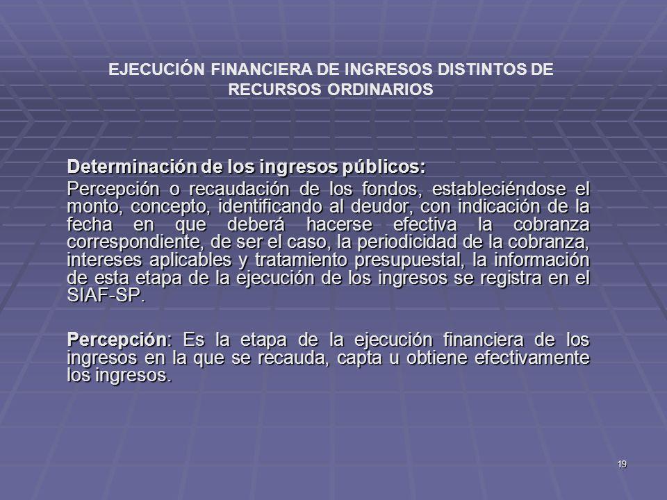 19 Determinación de los ingresos públicos: Percepción o recaudación de los fondos, estableciéndose el monto, concepto, identificando al deudor, con in