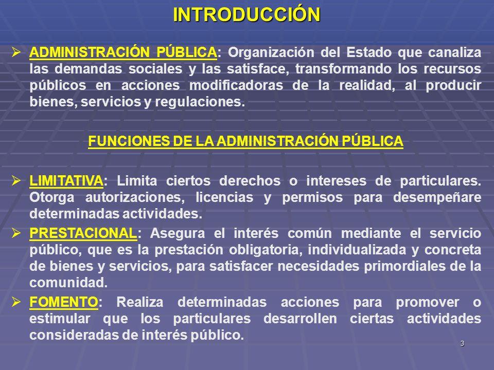 3INTRODUCCIÓN ADMINISTRACIÓN PÚBLICA: Organización del Estado que canaliza las demandas sociales y las satisface, transformando los recursos públicos
