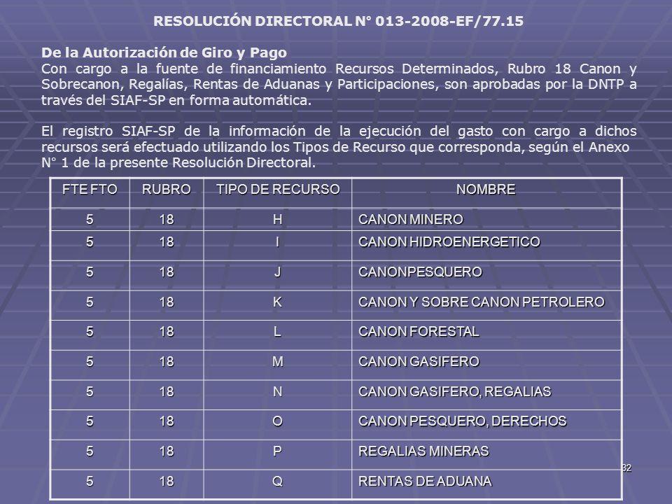 32 RESOLUCIÓN DIRECTORAL N° 013-2008-EF/77.15 De la Autorización de Giro y Pago Con cargo a la fuente de financiamiento Recursos Determinados, Rubro 1