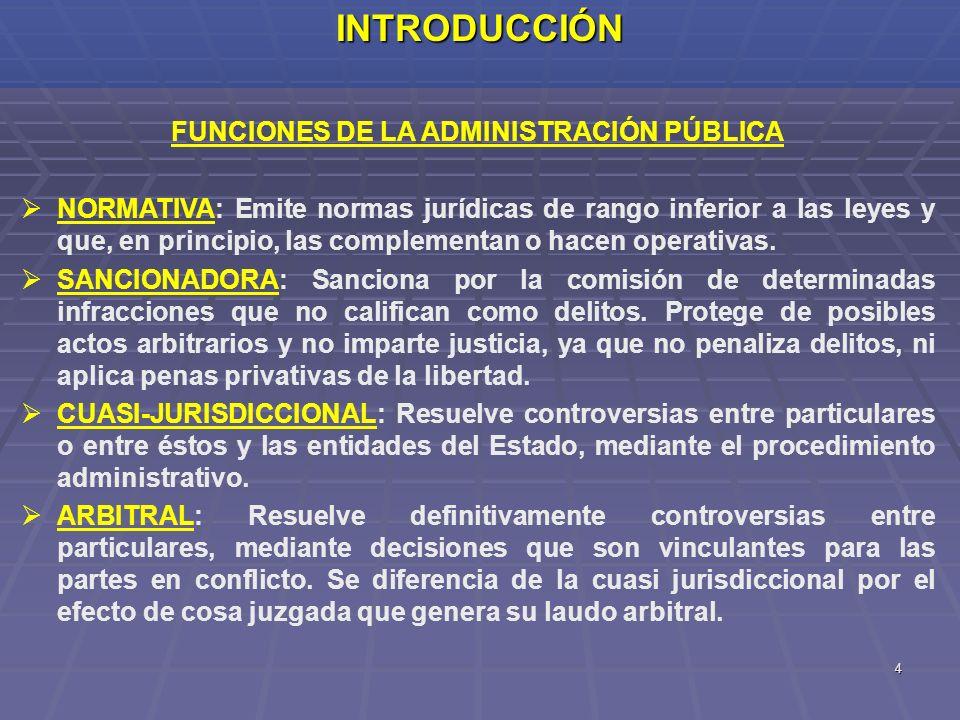 4INTRODUCCIÓN FUNCIONES DE LA ADMINISTRACIÓN PÚBLICA NORMATIVA: Emite normas jurídicas de rango inferior a las leyes y que, en principio, las compleme