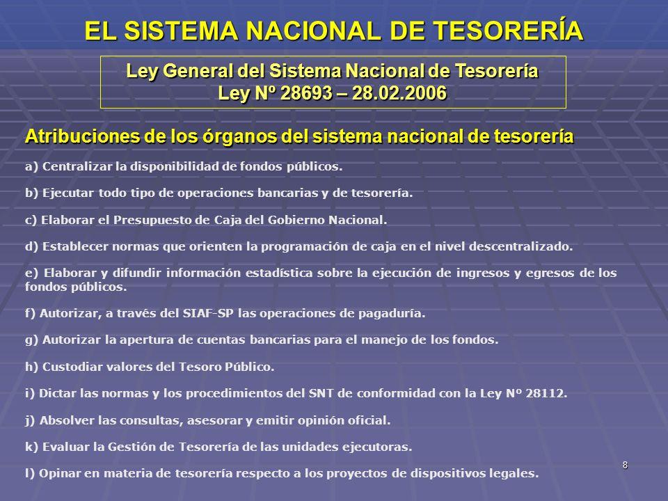 8 EL SISTEMA NACIONAL DE TESORERÍA Ley General del Sistema Nacional de Tesorería Ley Nº 28693 – 28.02.2006 Atribuciones de los órganos del sistema nac