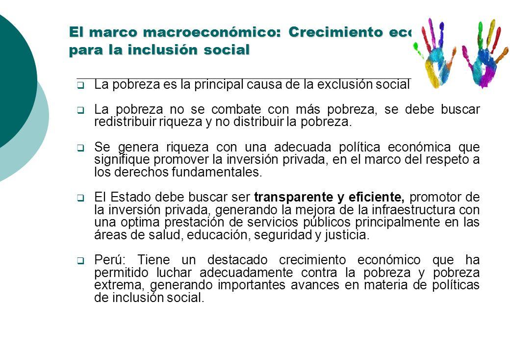 El marco macroeconómico: Crecimiento económico para la inclusión social El marco macroeconómico: Crecimiento económico para la inclusión social La pobreza es la principal causa de la exclusión social La pobreza no se combate con más pobreza, se debe buscar redistribuir riqueza y no distribuir la pobreza.