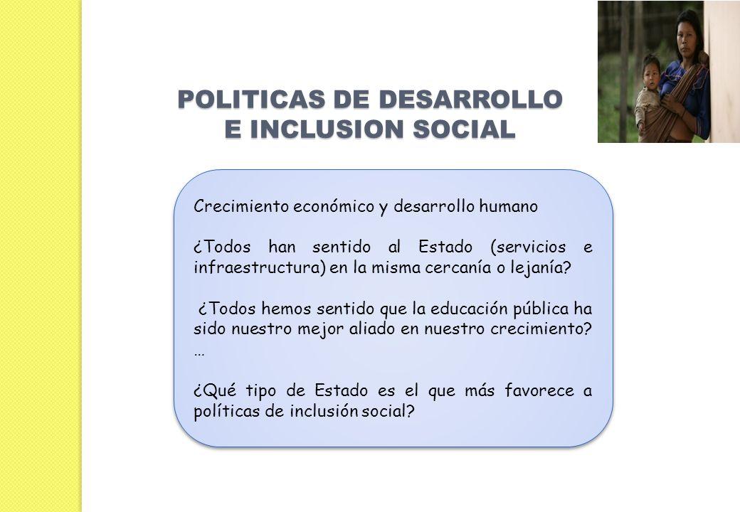 POLITICAS DE DESARROLLO E INCLUSION SOCIAL Crecimiento económico y desarrollo humano ¿Todos han sentido al Estado (servicios e infraestructura) en la misma cercanía o lejanía.