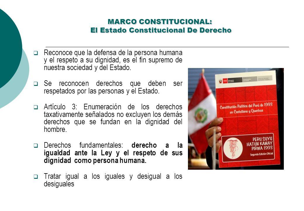 MARCO CONSTITUCIONAL: El Estado Constitucional De Derecho MARCO CONSTITUCIONAL: El Estado Constitucional De Derecho Reconoce que la defensa de la persona humana y el respeto a su dignidad, es el fin supremo de nuestra sociedad y del Estado.