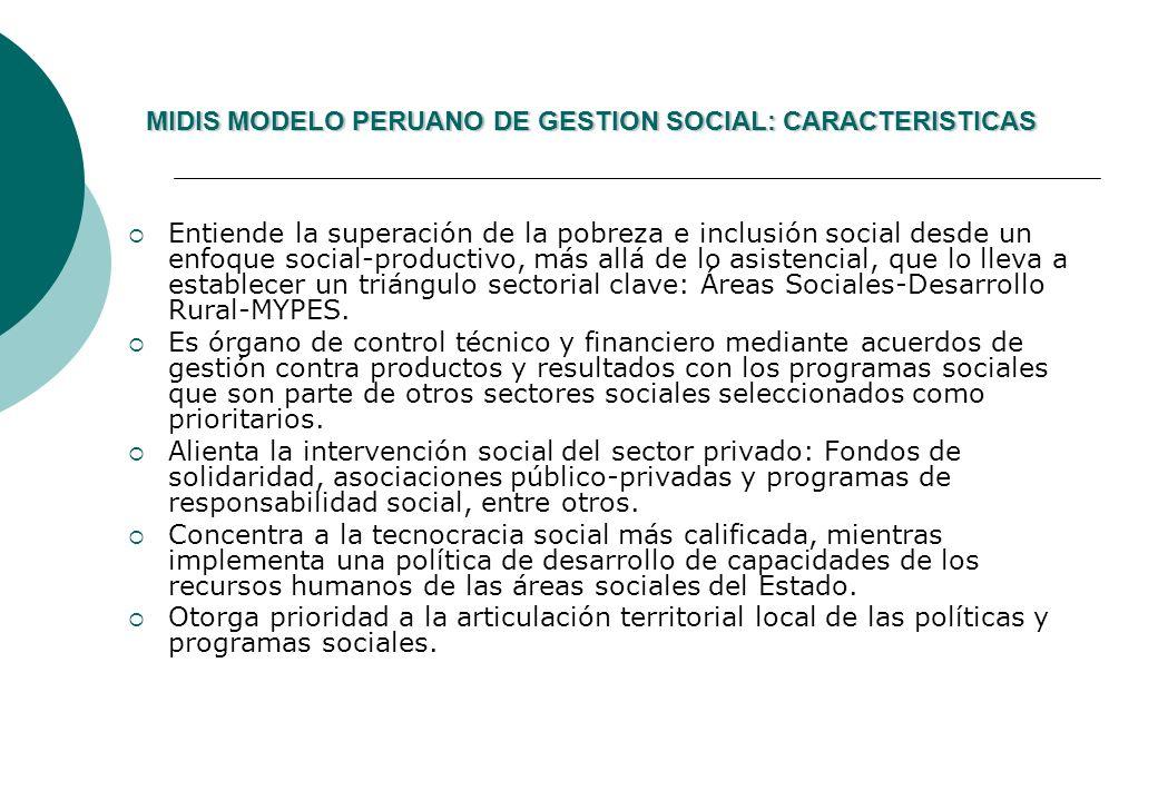 MIDIS MODELO PERUANO DE GESTION SOCIAL: CARACTERISTICAS MIDIS MODELO PERUANO DE GESTION SOCIAL: CARACTERISTICAS Entiende la superación de la pobreza e inclusión social desde un enfoque social-productivo, más allá de lo asistencial, que lo lleva a establecer un triángulo sectorial clave: Áreas Sociales-Desarrollo Rural-MYPES.