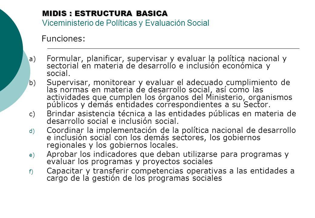 MIDIS : ESTRUCTURA BASICA MIDIS : ESTRUCTURA BASICA Viceministerio de Políticas y Evaluación Social Funciones: a) Formular, planificar, supervisar y evaluar la política nacional y sectorial en materia de desarrollo e inclusión económica y social.